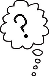 drawn black outline of a thought bubble with a question mark inside