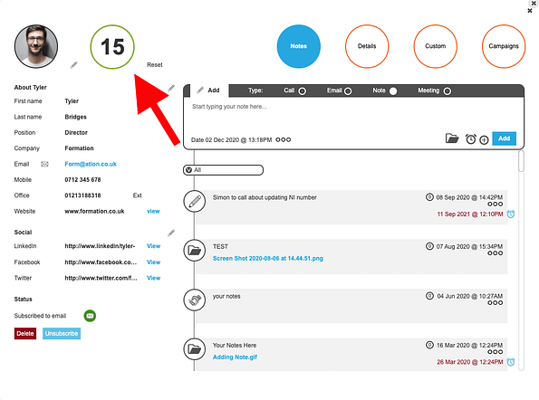 contact profile in popcorn, with a red arrow pointing to the contact's prospect score