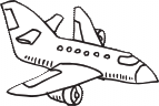black drawn outline of a flying airplane
