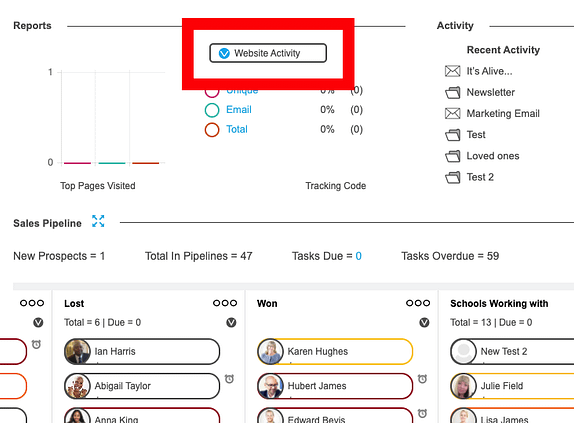 popcorn page with a red box around a button saying 'Website Activity'