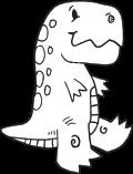 drawn black outline of a dinosaur walking